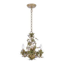 Crystorama Lighting Group - Crystorama Lighting Group 4843-CT Josie 3 Light Mini Floral Candle Style Chandel - Crystorama Lighting Group 4843-CT Josie Three Light Single Tier ChandelierSunshine on a summer garden was the inspiration for Crystorama's Josie Collection. The Champagne Green Tea finish is a nice blend of pale green, yellow, sage, and a hint of gold wash. The clear crystal accents finish the detailing nicely.Crystorama Lighting Group 4843-CT Features: