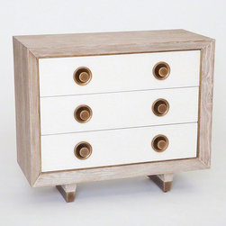 Studio A - Studio A Geneva Three-Drawer Chest - The Geneva Three-Drawer Chest is built entirely of American White Oak, including the inside of the drawers. Antiqued brass filet frames the drawers which are faced in our crackled linen finish. Brass sabots on legs.