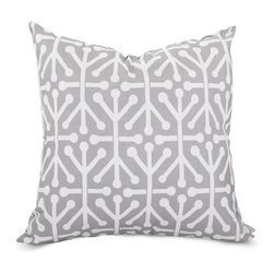 Majestic Home - Outdoor Gray Aruba Large Pillow - Add a splash of color and a little texture to any environment with these great indoor/outdoor plush pillows by Majestic Home Goods. The Majestic Home Goods Large Pillow will add additional comfort to your living room sofa or your outdoor patio. Whether you are using them as decor throw pillows or simply for support, Majestic Home Goods Large Pillows are the perfect addition to your home. These throw pillows are woven from Outdoor Treated polyester with up to 1000 hours of U.V. protection, and filled with Super Loft recycled Polyester Fiber Fill for a comfortable but durable look. Spot clean only.