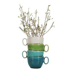 Home Decorators Collection - Stacked Teacup Planter - Our Stacked Teacup Planter offers a cute shape painted in bright and glossy white, green, teal and blue. The four stacked cups are bonded together to create a single planter for indoor or outdoor use. Flowers not included. Crackle finish.