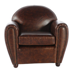 Vintage Classics-Lazzaro - Vintage Furniture Classics - Leather | Brutanian Vintage Brown Leather Chair - Here is a classic chair in Vintage brown crackle leather and nail trim accents. The Brutanian chair has a Pottery barn look, and is a perfect chair for hospitality, office, or home environment.