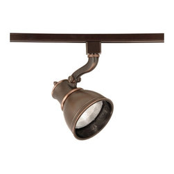 """WAC - WAC Caribe Bronze PAR30 Track Head for Juno Track Systems - The Caribe family of track luminaires from WAC features a rich warm antique bronze finish. These handsome fixtures are designed with a striking classic profile while creating a special ambiance. This Caribe head adjusts 90 degrees vertically and 360 degrees horizontally. Made by WAC for use with Juno line voltage track systems. Die-cast aluminum and metal construction. Antique bronze finish. Takes one 75 watt PAR30 bulb (not included). For use with W.A.C. J & J2 line voltage systems. 9 1/8"""" high 4 3/4"""" wide 6 1/4"""" deep.  Antique bronze finish.   Die-cast aluminum and metal construction.   For use with Juno 120v track systems.  From WAC track lighting made for Juno.  Takes one 75 watt PAR30 bulb (not included).   9 1/8"""" high.  4 3/4"""" wide.  6 1/4"""" deep."""