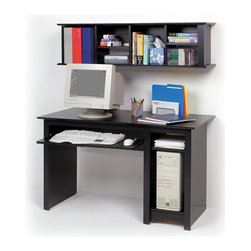 Prepac - Entryway & Home Desk and Hutch Set - * Includes desk and wall mounted hutch. Warranty: Five years. Made from CARB-compliant, laminated composite woods . Made in North America. Assembly required. Desk:. Roll-out keyboard tray. Adjustable shelf and bottom compartment. Side opening: 9.75 in. W x 20.5 in. D x 22 in. H. Overall: 48 in. W x 23.5 in. D x 29 in. H. Hutch:. Two-piece hanging rail system. Adjustable four shelves. Cubbie: 9.75 in. W x 9.75 in. D x 12.25 in. H. Overall:  48 in. W x 11.5 in. D x 13 in. HCoordinate with matching wall mounted desk hutch. Every office needs a computer desk, so why compromise on value or features? Store your computer tower, freeing up your workspace. Additional space for books, office supplies and anything else you need on-hand. Solidly designed with minimalist lines, this desk fits both your decor and your budget.