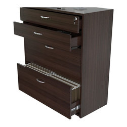 Inval America LLC - Inval Four Drawer File/ Storage Cabinet with Locking System - Keep your important papers organized in style with this contemporary commercial grade four-drawer file cabinet. With plenty of storage space and a locking system for added security,this cabinet is a great addition for any office.