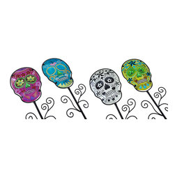Zeckos - Metal and Colorful Glass Sugar Skull Garden Stakes Halloween Lawn Decor Set of 4 - Whether this set of 4 sugar skull themed decorations stake a claim in your garden, front yard, or in pots on the porch, they're sure to bring some color to your decor Made from metal, each stake will stand tall at 36 inches (91 cm) high with a 9 inch high, 6.5 inch wide (23 x 17 cm) colored glass insert hand-painted in sweet sugar skull style. In Blue, yellow, pink and white, these skull stakes are sure to bring your Halloween decor to life with a splash of color. This set of 4 would make a wonderful gift any Halloween loving sugar skull collector is sure love.