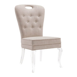Kathy Kuo Home - Anais Hollywood Regency Acrylic Tufted Linen Dining Side Chair - Soft and inviting Belgian linen offers your family and friends a tufted seat. A higher back and  foam contoured upholstery provide comfort and style. Clear acrylic legs disappear into your décor, giving the illusion that the seat is floating. Luxuriously light and versatile, this chair can accent any room in your home.