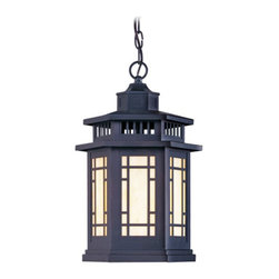 Livex Lighting - Livex Mirror Lake 239 Outdoor Hanging Lantern - Bronze - 2395-07 - Shop for Pendants and Hanging Fixtures from Hayneedle.com! Replace boring old flush-mount porch lights with the sophisticated and contemporary Mirror Lake Outdoor Hanging Lantern. You'll discover a new beauty in the front of your home with the light shed by this gorgeous lantern. We offer this six-sided hanging lantern in two sizes so you can choose the size that will stand out without overwhelming the front of your house. Crafted from solid brass this lantern has a bronze finish and a Tiffany art glass bulb cover. It makes a sophisticated statement on any style of home. Each lantern requires one medium-base 150-watt bulb which is not included. Includes 3 feet of chain and 8 feet of wire. UL listed for safety. Dimensions (medium/large): 10.5/14.5 diam. x 17.5/21.21H inches. Medium lantern weighs 11 lbs.; large lantern weighs 16 lbs.About Livex Lighting Inc.Livex Lighting is a manufacturer and distributor of decorative residential lighting. The company was founded in 1993 and is now headquartered in a 150 000-square-foot facility in Morristown NJ. Livex Lighting currently offers more than 2 500 products ranging from lighting fixtures for indoor and outdoor applications to lampshades chandelier shades ceiling medallions and accent furniture. The goal of Livex Lighting is to provide the highest-quality product at the most affordable price. The company is constantly responding to the ever-changing needs styles and fashions of the lighting industry while always maintaining the highest standards of quality.