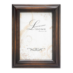 Lawrence Frames - Weathered Espresso Wood 4x6 - Beautiful distressed Espresso wood picture frame.  Hand finished so that every piece is unique and different.  Designer wood picture frame has a casual but elegant decorative look.  High quality Espresso velvet backing.  Frame can stand vertically or horizontally and comes with hangers for horizontal or vertical wall mounting.   Individually boxed.