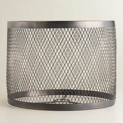 World Market - Riveted Table Lamp Shade - Made of iron with an open lattice design in a matte black finish, our attractive Riveted Table Lamp Shade is full of modern, industrial appeal. Complete the look with our coordinating Riveted Table Lamp Base, or hang it as a pendant to create a striking centerpiece.