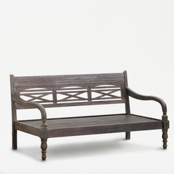 Indonesian Bench - This bench looks like it could hold up to a lot of heavy use, i.e. kids.