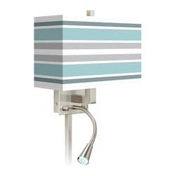 """Giclee Glow - Coastal Multi Color Stripes Giclee LED Reading Light Plug-In Sconce - This giclee shade wall sconce has a clean crisp look and contemporary appeal. It features a giclee printed pattern on high-quality canvas. The angular frame comes in a lustrous brushed steel finish. Installation is easy: just plug it in to any standard wall outlet. It's perfect beside a bed or a reading chair thanks to the energy efficient gooseneck LED reading light. Reading light and main light are controlled separately. This item is custom made-to-order. Brushed nickel finish. Giclee shade. Plug-in style. Brushed nickel finish cord cover included. Takes one 60 watt bulb (not included). Gooseneck light with 12 LED array. 13 1/2"""" high 14"""" wide. Extends 6 1/4"""" from the wall. Gooseneck LED with 10 1/2"""" extension. Backplate is 5"""" wide 9"""" high 1 1/4"""" deep. Shade is 14"""" wide 5"""" deep and 8 1/2"""" high. U.S. Patent # 7347593.  Brushed nickel finish.  Exclusive Multi Color Stripes pattern giclee-printed shade.  Plug-in style.  Brushed nickel finish cord cover included.  Takes one 60 watt bulb (not included).  Gooseneck light with 12 LED array.  13 1/2"""" high 14"""" wide.  Extends 6 1/4"""" from the wall.  Gooseneck LED with 10 1/2"""" extension.  Backplate is 5"""" wide 9"""" high 1 1/4"""" deep.  Shade is 14"""" wide 5"""" deep and 8 1/2"""" high."""