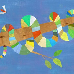 """Rainbow Jungle Themed Kid's Room - Melanie Mikecz's """"Stripy Snake"""" comes in sizes 14x10 and 24x18"""