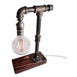 Urban Industrial Craft - Rustic Industrial Edison Bulb Lamp - includes Bulb, Red Mahogany, Globe Edison - Urban Industrial Craft -