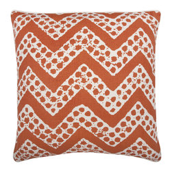 """Thomas Paul - Orange Chevron Design Throw Pillow - The handmade, oversized Thomas Paul Orange Chevron Design throw pillow features a hand silk-screened chevron print on 100% unbleached natural cotton.  The modern pattern and bold color are a perfect way to kick up the design of any living room or bedroom. The design is reversible with opposite coloration on either side. The throw pillow has piped edges and comes with a feather insert. This is one of those great pieces that pairs well with solids or prints.    About the Artist: After graduating from NYC's famed FIT, Thomas Paul started his career as a colorist and designer at a silk mill. Eventually, he leveraged his knowledge of silk materials & print to launch a neckwear line of his own. Over time, Paul loved the idea of applying menswear print and design into a collection of home decor, which is what we see in his goods today. His background has embedded in him a passion for quality production techniques. Even as his brand grows, he continues to ensure all of his prints are hand screened - a slow, detailed process that results in each piece being a unique piece of artwork. Paul also pushes the envelope in terms of bold prints and hand ground materials.       """"My vision for the thomaspaul brand has always been about combining classic design motifs from different periods in textile design. Incorporating anything from an 18th century Damask pattern to a camouflage print. The unifying thread between so many different styles is to change the designs so they are updated for today. For me this means changing the scale, so they are always bold, and reducing down the colors and details, so most designs are reduced to two or three colors and become very flat, bold prints. I am always looking to vintage fabrics and motifs for inspiration and new ideas, but always try to update these to look good for today."""" - Thomas Paul   Product Details:"""