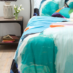 "Kala Duvet - My teenager daughters completely said, ""I want that!"" when they saw this gorgeous duvet from Anthropologie. They love the abstract and graphic complementary color combination."