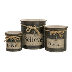 iMax - Magdaline Inspiration Boxes, Set of 3 - This set of three wood boxes feature rope, fabric and metal key ornaments for a vintage look.