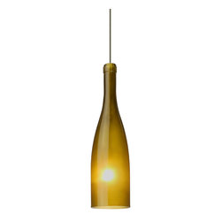 Besa Lighting - Botella 1 Light Led Mini Pendant With Green Frost Glass Shade - The Botella is a classically shaped vino bottle, inspired by the timeless beverage. Our Green Frost glass is a colored semi-transparent glass. The vintage green glow has a low key harmonious display that exudes a warm mood. When lit the glass is vitalizing as well as stylish. This handcrafted glass uses a process where every glass is consistently produced using a press mold, keeping variations to a minimum. The 12V cord pendant fixture is equipped with a 10' coaxial cordset with teflon jacket, quick connect jack and a low profile flat quick connect monopoint canopy. These stylish and functional luminaries are offered in a beautiful brushed Bronze finish.