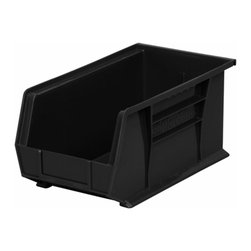 "Akro-Mils - Black Stackable Storage Bins, 14.75""- Set of 12 - AkroBins optimize your storage space. Control inventories, shorten assembly times and minimize parts handling. Heavy-duty polypropylene bins hang from Akro-Mils racks, panels, rails, and carts; securely stack atop each other and sit on shelving. AkroBins are unaffected by weak acids and alkalis. Sturdy, one-piece construction is water, rust and corrosion proof and guaranteed not to break. Autoclavable up to 250Degrees F."