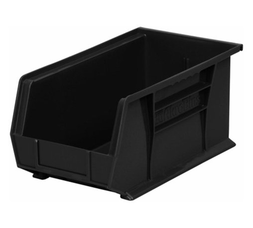 """Akro-Mils - Black Stackable Storage Bins, 14.75""""- Set of 12 - AkroBins optimize your storage space. Control inventories, shorten assembly times and minimize parts handling. Heavy-duty polypropylene bins hang from Akro-Mils racks, panels, rails, and carts; securely stack atop each other and sit on shelving. AkroBins are unaffected by weak acids and alkalis. Sturdy, one-piece construction is water, rust and corrosion proof and guaranteed not to break. Autoclavable up to 250Degrees F."""