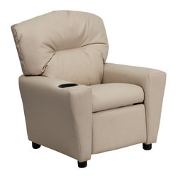 Flash Furniture - Flash Furniture Contemporary Beige Vinyl Kids Recliner with Cup Holder - Kids will now be able to enjoy the comfort that adults experience with a comfortable recliner that was made just for them! This chair features a strong wood frame with soft foam and then enveloped in durable vinyl upholstery for your active child. Choose from an array of colors that will best suit your child's personality or bedroom. This petite sized recliner will not disappoint with the added cup holder feature in the armrest that is sure to make your child feel like a big kid! [BT-7950-KID-BGE-GG]