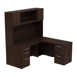 "Bush - Bush 300 Series 66"" L-Shape Desk with Hutch in Mocha Cherry - Bush - Commercial Grade Office - 300S040MR - Stately and efficient, make your own custom executive configuration with the Bush Mocha Cherry 300 Series 66""W x 30""D Single Pedestal L Desk with 36"" Return and 66""H Overhead Hutch. Start with the expandable 66""W Pedestal L Desk (B/F). Offers ample work surface, plus one box drawer for supplies and one file drawer for letter- legal- or A4-size files. Solid and sturdy 1""-thick work surface won't sag and looks good for years. 36""W Return provides plenty of workspace room. Convenient, overhead storage helps keep desk areas clean and opens up more options. Height matches other 300 Series hutches for side-by-side configurations. Upper area concealed by two doors. Desktop grommets offer easy access and concealment of unsightly wires, cords or cables. Back-panel board holds notes, photos and more. Top surfaces are scratch/stain resistant and one of the most durable available. Tough edge banding resists dents, dings and nicks. Mocha Cherry finish complements any office decor and matches other 300 Series pieces. Includes BBF Limited Lifetime warranty."