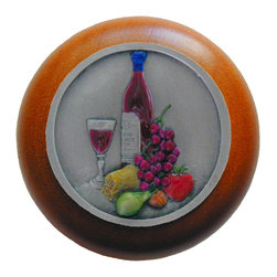 """Inviting Home - Best Cellar Cherry Wood Knob (hand-tinted pewter) - Best Cellar Cherry Wood Knob with hand-cast hand-tinted pewter insert; 1-1/2"""" diameter Product Specification: Made in the USA. Fine-art foundry hand-pours and hand finished hardware knobs and pulls using Old World methods. Lifetime guaranteed against flaws in craftsmanship. Exceptional clarity of details and depth of relief. All knobs and pulls are hand cast from solid fine pewter or solid bronze. The term antique refers to special methods of treating metal so there is contrast between relief and recessed areas. Knobs and Pulls are lacquered to protect the finish. Alternate finishes are available."""