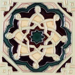 """Glass Tile Oasis - Laberinto 6"""" x 6"""" Cream/Beige 6"""" x 6"""" Deco Tiles Glossy Ceramic - All ceramic tiles are hand painted. Glazed thickness will vary from tile to tile resulting in color variation. Hand Painted Ceramic tiles will craze and crackle over time which is intentional and a desired effect."""