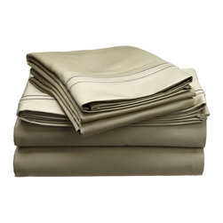 """Egyptian Cotton 800 Thread Count Embroidered Sheet Set - Queen - Sage/Sage - Bring a touch of elegance to your bedroom with this Egyptian Cotton 800 Thread Count Embroidered Sheet Set. This sheet set features a minimalistic but magnificent design consisting of embroidered colored lines atop sateen solid colored fabric creating an updated look to a classic design. Each set includes (1) Fitted Sheet: 60""""x80"""", (1) Flat Sheet: 90""""x102"""", and (2) Pillowcases: 20""""x30""""."""