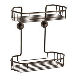 "no drilling required - Double Shower Caddy, Oil-Rubbed Bronze - 100% rustproof construction and includes the patented German made no drilling mounting system. The mounting system installs without any tools, no measuring and carries a Lifetime Replacement Warranty. Designed for use on tile, stone, glass, metal, wood, concrete, brick and plastics. The system is also removable if needed and is ideal for renters, remodels and to remove before you move! Dimensions 11""w x 11-1/2""t x 5-1/4""d - 9-1/8"" between shelves. Holes are 5"" on center.  100% Rustproof Solid brass construction, nie wieder bohren no drill mounting hardware included, installs in minutes"