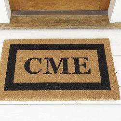 """Monogrammed Extra-Large Doormat, 30 x 48"""", Black - Our hand-screened doormat makes a welcoming statement for holiday guests. Add a monogram for a more personal look. Border and monogram: choose from black or espresso. Thickly woven of naturally durable coir, a fiber derived from the outer husk of coconut shells. May be monogrammed at no additional charge. Monogram will be centered on the doormat. Catalog / Internet Only. Imported."""