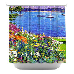 DiaNoche Designs - Sailboat Bay Garden Shower Curtain - Sewn reinforced holes for shower curtain rings. Shower Curtain Rings Not Included. Dye Sublimation printing adheres the ink to the material for long life and durability. Machine Washable. Made in USA.