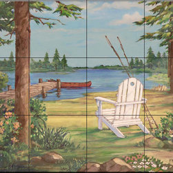 The Tile Mural Store (USA) - Tile Mural - Pb - Lakeside I - Kitchen Backsplash Ideas - This beautiful artwork by Paul Brent has been digitally reproduced for tiles and depicts a white chair next to a lake pier.  Waterview tile murals are great as part of your kitchen backsplash tile project or your tub and shower surround bathroom tile project. Water view images on tiles such as tiles with beach scenes and Mediterranean scenes on tiles Tuscan tile scenes add a unique element to your tiling project and are a great kitchen backsplash idea. Use one or two of our landscape tile murals for a wall tile project in any room in your home for your wall tile project.