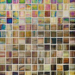"Haute Glass Collection - Color-Honey Espresso: 1""x1"" Wall Glass Mosaic Iridescent on a 12""x12"" sheet"