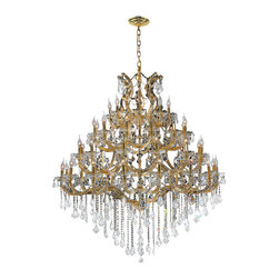 Worldwide Lighting - Maria Theresa Chandelier 46 In. - 49 Light in Gold - This 49-light Maria Theresa Collection chandelier in Gold finish and Clear crystal is a stunning addition to your home and is dressed with our 30% PbO Premier Crystal glass. Worldwide Lighting Corporation is a premier designer manufacturer and direct importer of fine quality chandeliers, surface mounts, and sconces for your home at a reasonable price. You will find unmatched quality and artistry in every luminaire we manufacture.