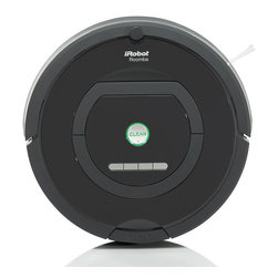 Frontgate - iRobot Roomba 770 Vacuum Cleaning Robot - Cleaning head provides superior performance for picking up pet hair, dirt, dust, allergens, and more. Dual HEPA air filters capture fine dust particles. Cleans under beds and other hard to reach spaces. Molded soft-touch bumper cushions the contact made between Roomba's bumper and walls, furniture and other objects, protecting household items while it cleans. Cliff detection allows Roomba to avoid stairs and other drop-offs. Let the iRobot Roomba 770 Vacuum do the work for you—let it remove dirt, dust and pet hair with the touch of a button. With iAdapt Responsive Cleaning Technology, Roomba 770 thoroughly vacuums your entire floor, including hard-to-reach spots under furniture. Dual HEPA air filters stop even the finest dust from circulating in your home. Special features of the 770 model include Dirt Detect Series 2, which programs the robot to concentrate on cleaning spills and especially dirty areas on demand, plus a Full Bin Indicator that lets you know when the bin needs to be emptied.  .  .  .  .  . Automatically adjusts between different floor types . Dirt Detect Series 2 uses optical and acoustic sensors to find dirt and debris . Auto Virtual Wall barriers emit an infrared beam that Roomba won't cross, keeping the robot in the rooms you want to clean and out of the rooms you don't . Roomba charges itself, going back to its Home Base to dock and recharge between cleanings . Full Bin Indicator lets you know when the bin is full and needs to be emptied . Clean when it's convenient for you with On-Board Scheduling . Built-in, recessed carrying handle for easy one-handed transport . Included remote control allows you to steer Roomba around your space . Rechargeable battery, battery charger, self cleaning home base, 2 Virtual Walls , 1 extra filter, 2 brush cleaning tools, 1 remote control, and 1 instructional DVD included . iRobot Roomba 770 Vacuum Accessories Replacement Kit (59292): Includes 3 sets of dual HEPA filters, 1 bristle brush, 1 flexible beater