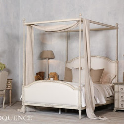 Eloquence - Eloquence Dauphine Canopy Bed - Eloquence's Dauphine Canopy Bed with elegant fluted canopy frame. Hand-finished in our distressed Weathered White and upholstered in White Linen. 10 yards to re-upholster.