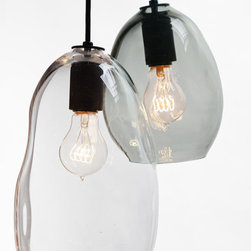 Hand blown bubble glass pendant light -