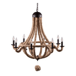 ZUO PURE - Celestine Ceiling Lamp Twine - UL approved; hardwired; 8 25W Type B bulb(s) required8 bulb(s) included