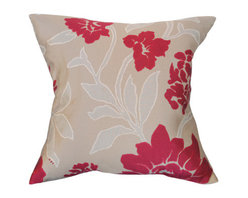 Urban Home Floral Jacquard Red/Khaki Pillow - Made of High Quality Goose Down. Features a removable cover.