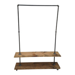 Industial Garment Rack With Bottom Shelf - This garment rack is built from recycled iron piping and reclaimed wood. It will add a touch of class to a loft, office, rustic style home decor or an industrial space.