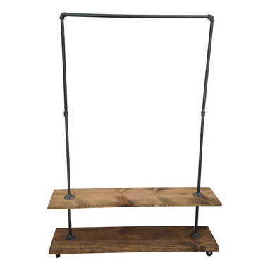 Urban Industial Garment Rack with Bottom Shelf - This garment rack is built from recycled iron piping and reclaimed wood. It will add a touch of class to a loft, office, rustic style home decor or an industrial space.