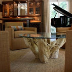 Wine Room - Gorgeous cactus coffee table in wine room designed by Natalie Scott Designs, Inc.