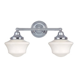 Design Classics Lighting - Schoolhouse Bathroom Light with Two Lights in Chrome Finish - WC2-26 / GC6 - Polished chrome finish bathroom vanity light with Ballard schoolhouse style white glass. Takes (2) 60-watt incandescent A19 bulb(s). Bulb(s) sold separately. UL listed. Dry location rated.