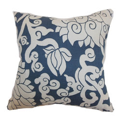 """The Pillow Collection - Erdenet Floral Pillow Smoke 18"""" x 18"""" - Throw this modern home accessory to your favorite sofa, bed or chair. This accent pillow blends a white floral print pattern with smoke blue background. This throw pillow is easy to mix and match with other solids and patterns. This square pillow is made from 95% cotton and 5% linen fabric. This down filled 18"""" pillow is perfect for casual settings and various decor styles. Hidden zipper closure for easy cover removal.  Knife edge finish on all four sides.  Reversible pillow with the same fabric on the back side.  Spot cleaning suggested."""