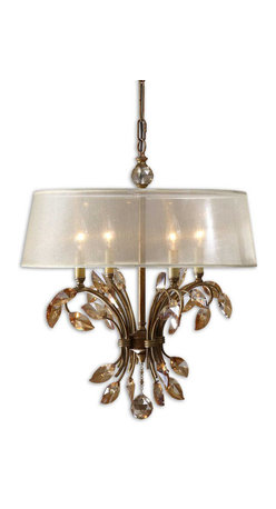Uttermost - Uttermost Alenya 4 Lt Chandelier w/ Silken Champagne Sheer Fabric Shade - 4 Lt Chandelier w/ Silken Champagne Sheer Fabric Shade belongs to Alenya Collection by Uttermost Burnished gold metal with golden teak crystal leaves and a silken champagne sheer fabric shade. Chandelier (1)