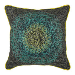 "Peacock Blue Charcoal Spirograph 18"" x 18"" Pillow  Set of 2 - *18"" x 18"" Pillow with Hidden Zipper"