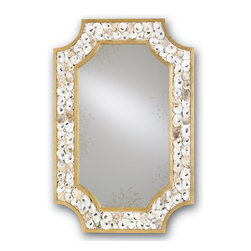 Currey & Company - Currey & Company Margate Mirror CC-1090 - Luxury by the seaside is at the heart and soul of the Margate Mirror. Natural Oyster shells adorn the appealing Contemporary Gold Leaf finished frame which brings sophistication to any coastal-inspired interior.