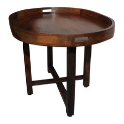 Foreign Affairs Home Decor - Large Mango WoodTray ERUM with separate wood stand. - Hardwood tray table ERUM. Removable large tray with folding legs.