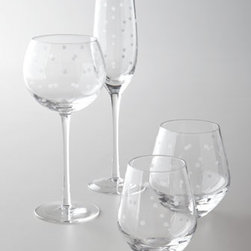 """kate spade new york - kate spade new york Four """"Larabee Dot"""" Balloon Glasses - Add a bit of fun and excitement to beverage service with this elegant glassware featuring an etched polka-dot design. From kate spade new york. Made of lead-free crystal. Dishwasher safe. Each size sold in sets of four. Balloon glasses hold 16 ounces. Flutes hold 6 ounces. Stemless white wine"""