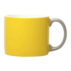 Jansen+co - Yellow Mug with Grey Handle - Known for its use of bold color combinations, Jansen+co's tabletop products combine high quality industrial production with a careful hand finish. A part of the My Mug series, the My Mug XL is the perfect size for a morning coffee, and conveniently fits right under a standard Nespresso® machine (for those ALSO addicted). Available in a variety of different colors (& the mugs with contrasting handles), it's encouraged to mix and match with the rest of the Jansen+co products, to create a bright, eclectic, collection of your own.
